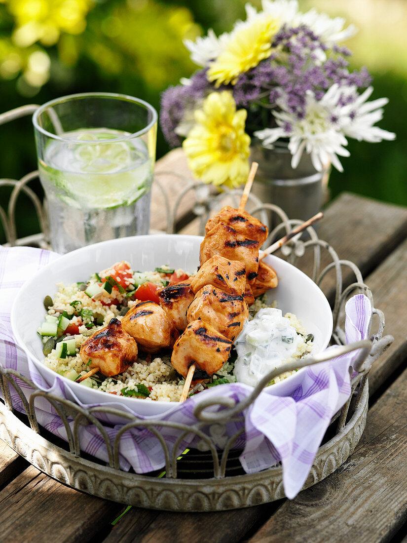 Chicken Skewers Tatziki Couscous