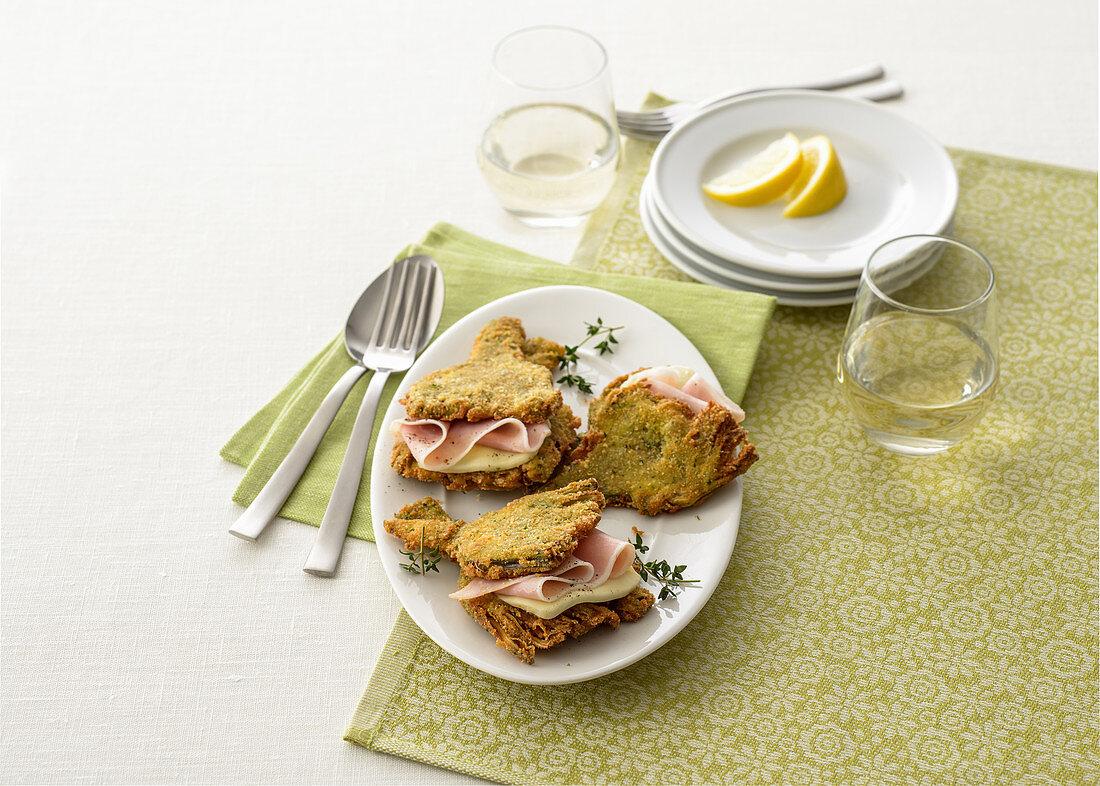 Artichoke sandwiches with ham and mozzarella