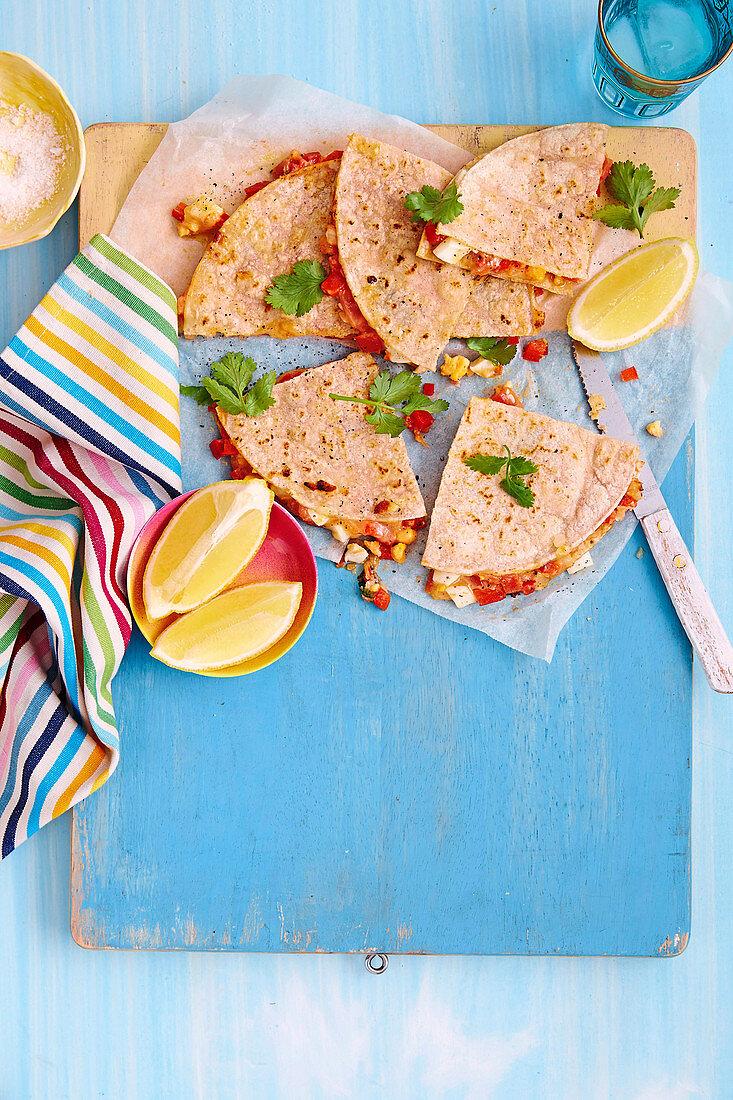 Gluten-free tomato, egg and capsicum quesadillas