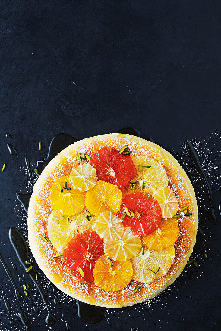 Japanese cotton cheesecake with caramelised citrus