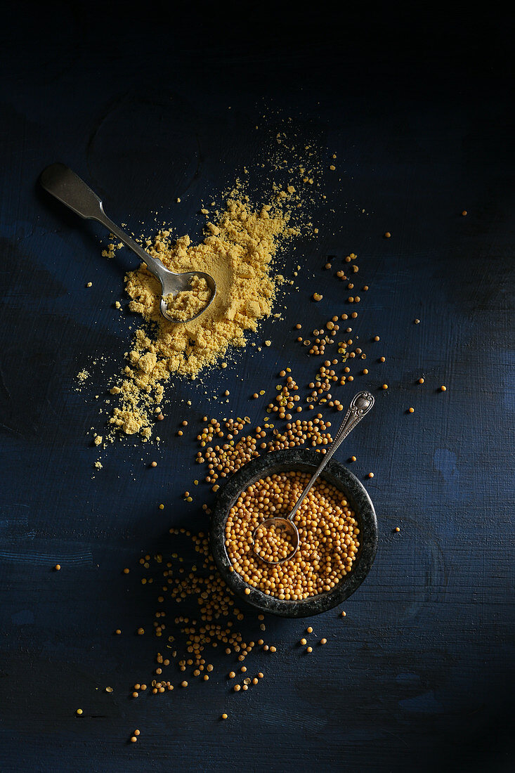 Mustard seeds and mustard powder on a dark background (top view)