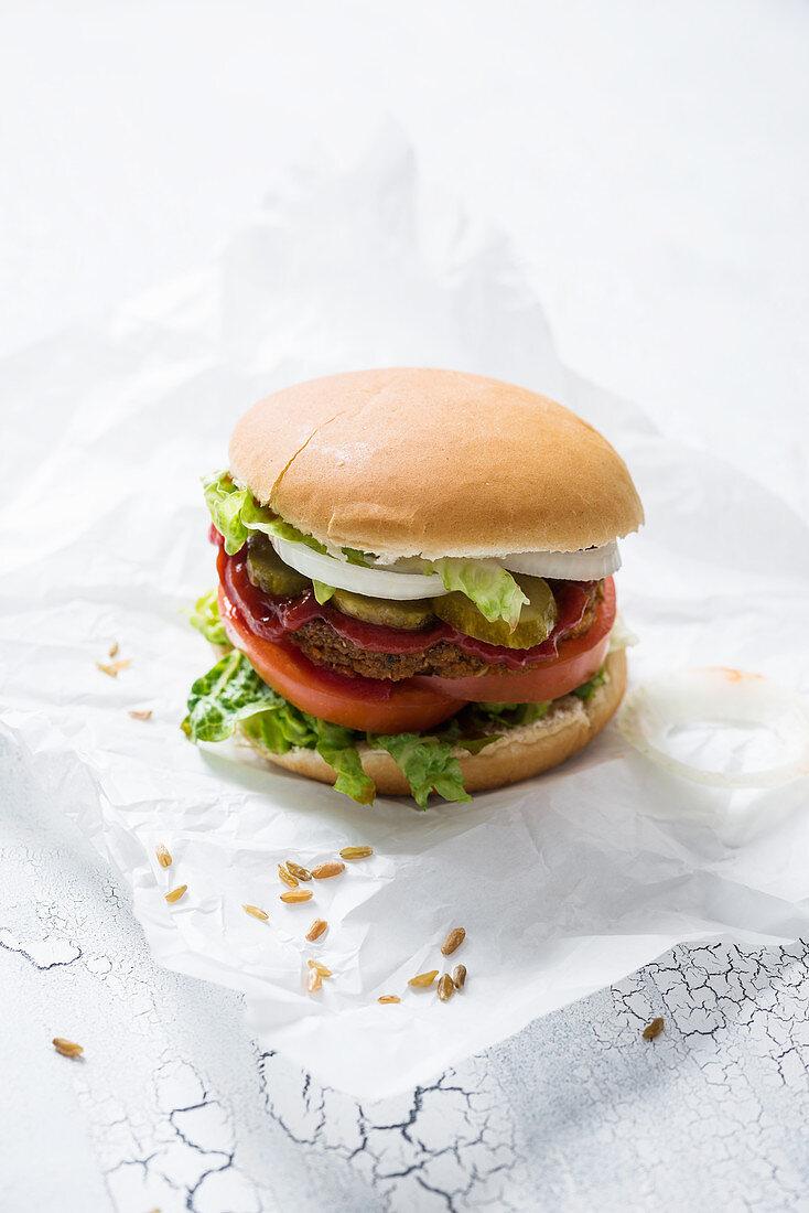 A greens-burger (vegan)