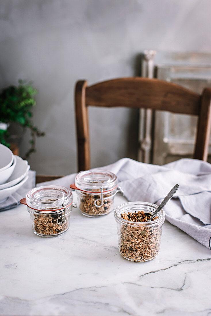 Homemade granola in a white kitchen