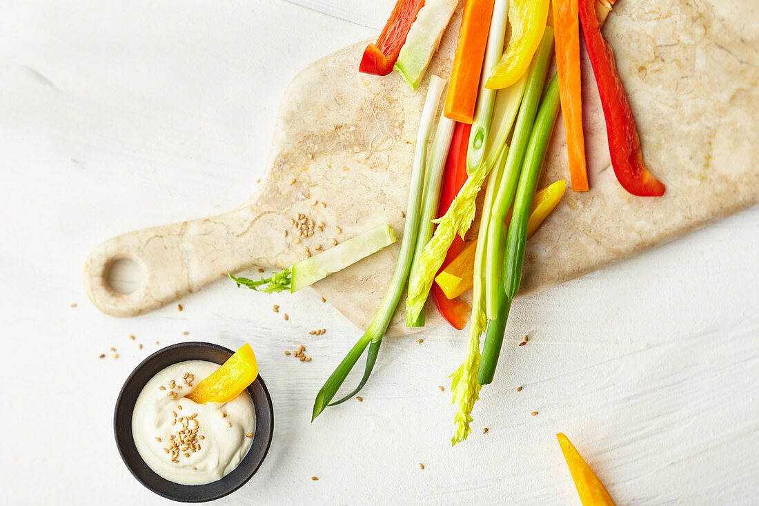 Vegetable sticks with a tahini dip