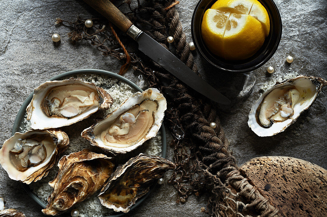 Oysters on half shell on stone background with lemon