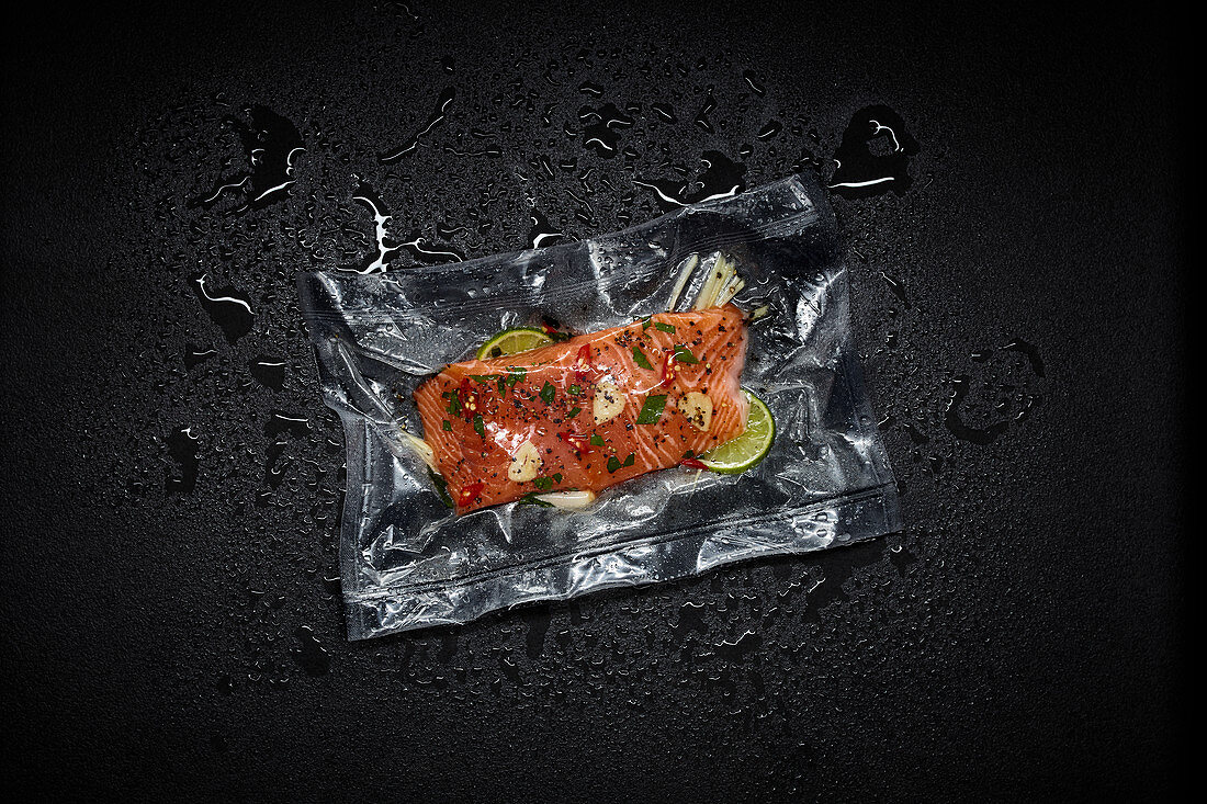 Salmon with lime in a sous vide bag