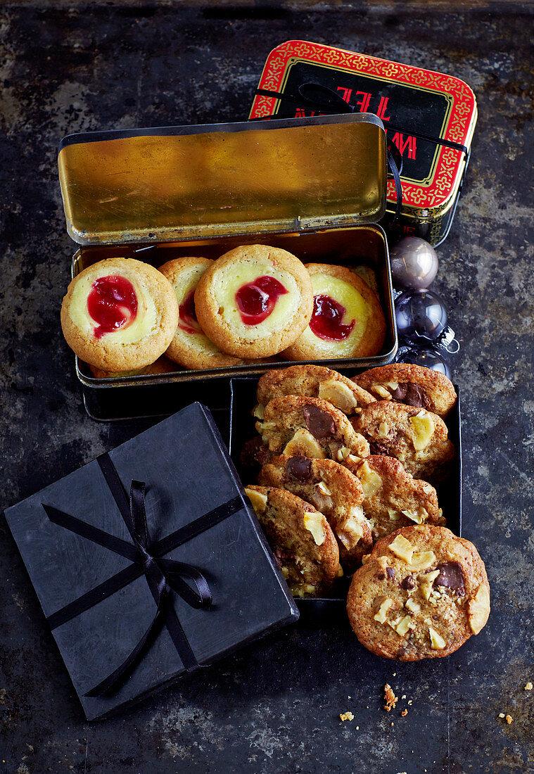 Banana bread cookies and raspberry cheesecake cookies