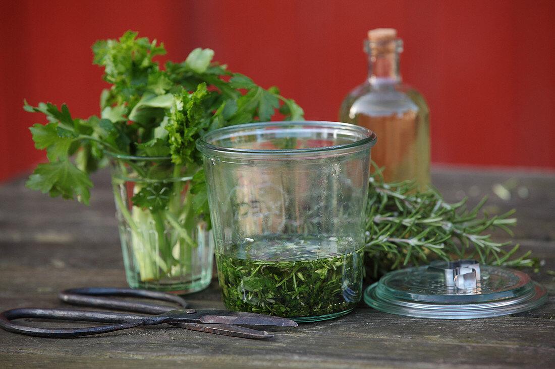 Fresh herbs for spring facial water