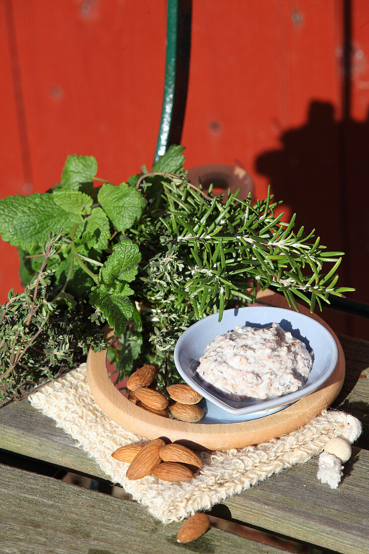 A facial exfoliator made from dried herbs, wheat bran, ground almonds and natural yoghurt