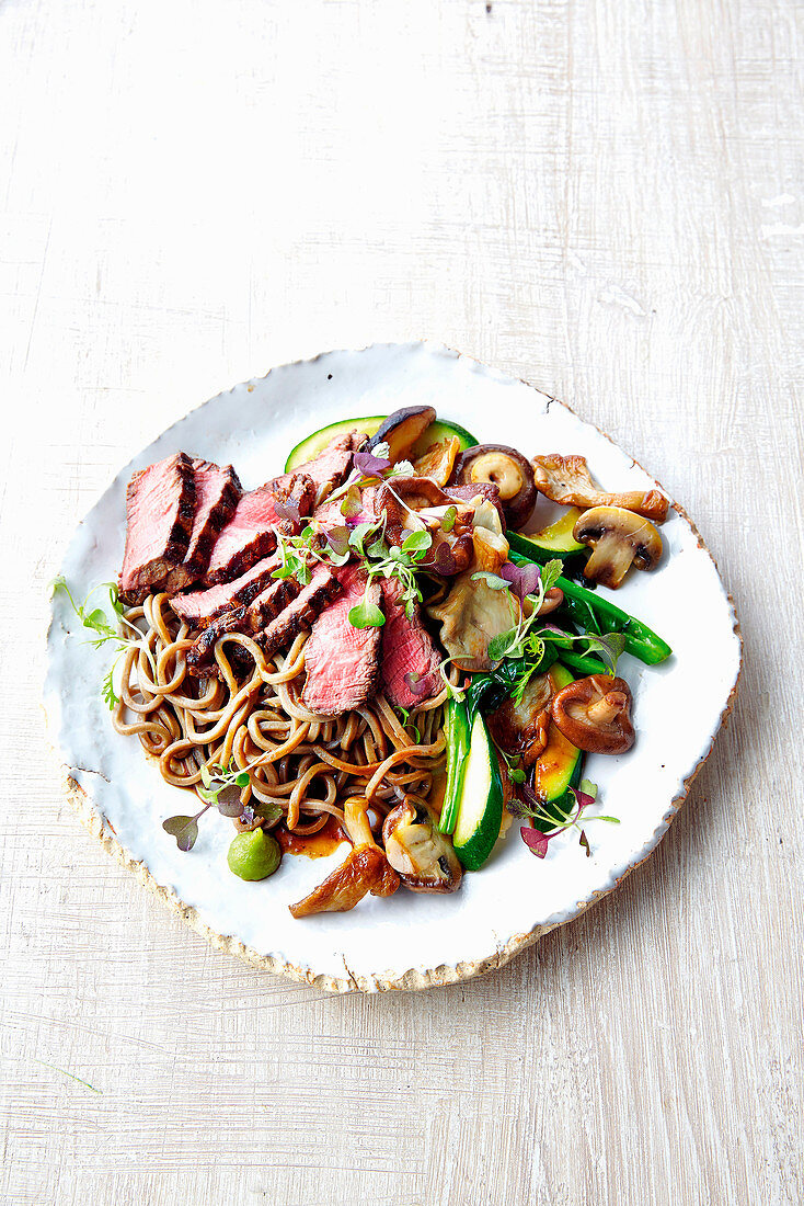 Wasabi beef with chinese broccoli