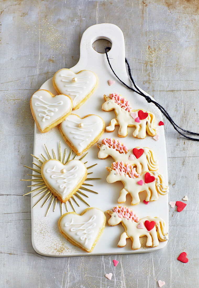 Lemon hearts with marzipan, and unicorn biscuits
