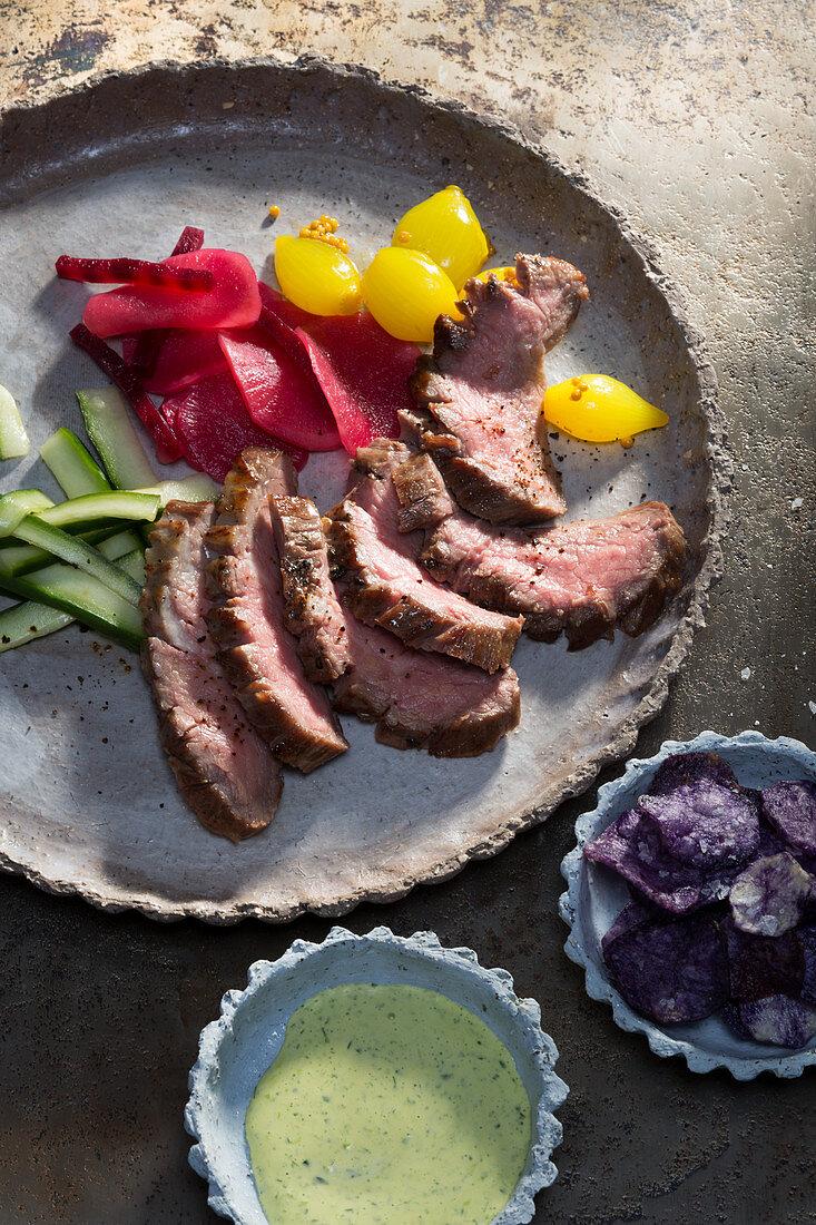 Flank steak with pickled vegetables