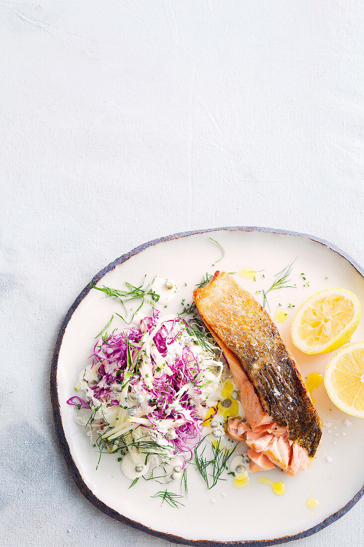 Crispy salmon with apple and cabbage remoulade