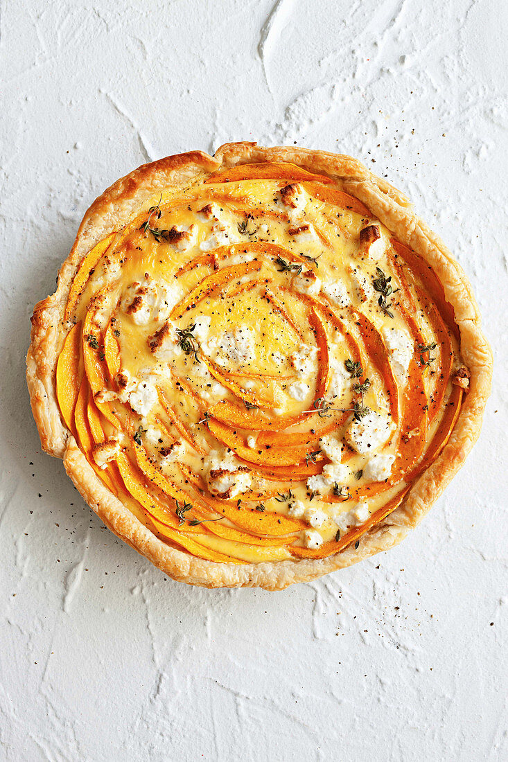 Pumpkin and goat's cheese tart