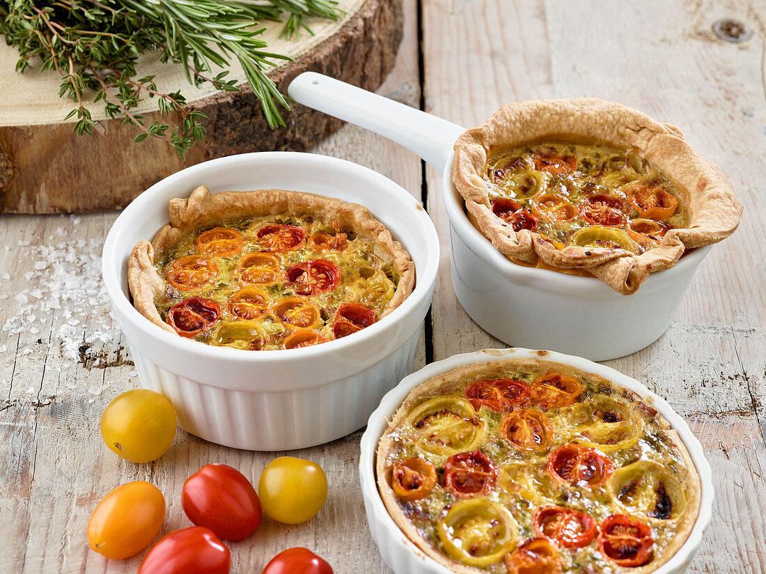Wild garlic and tomato tarts