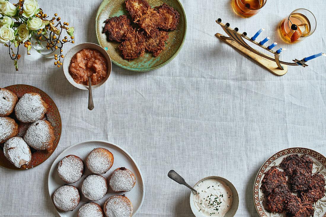 Doughnuts and latkas for Hanukkah