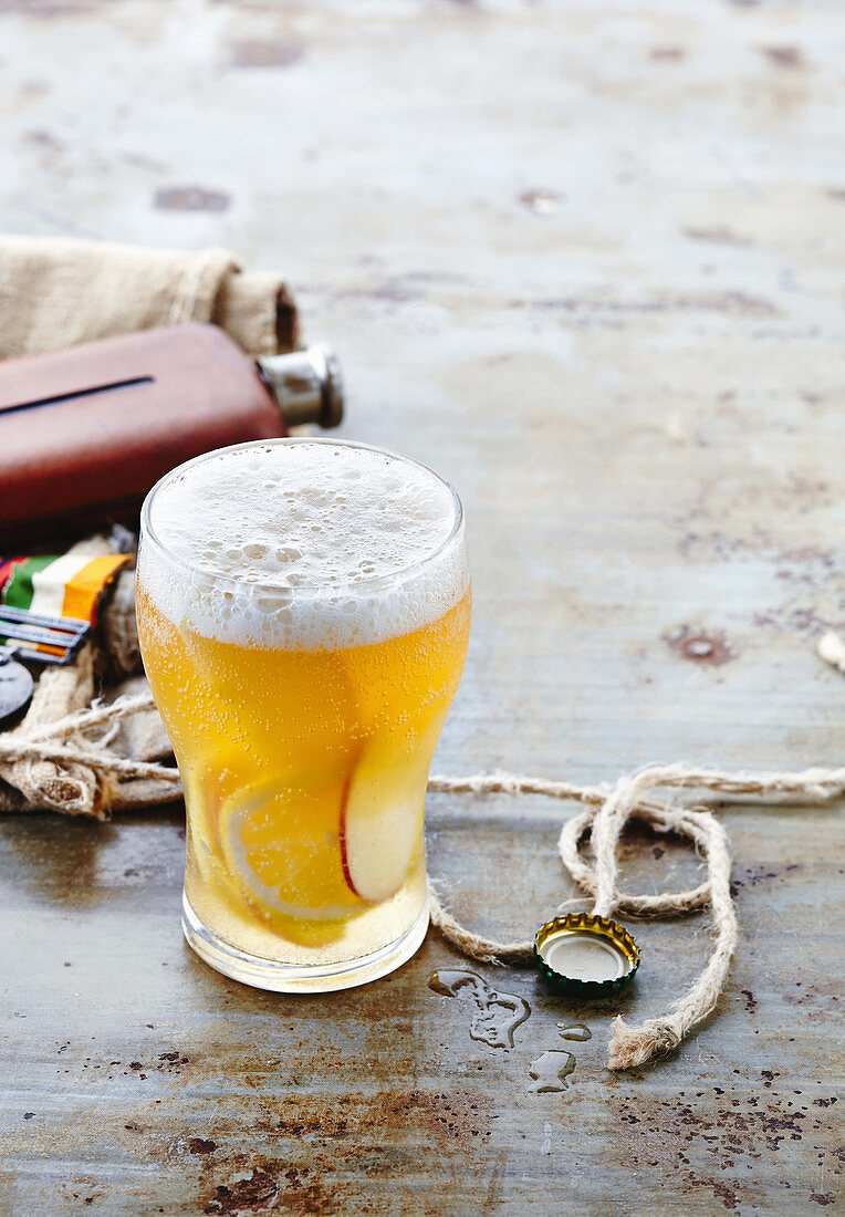 Shandy Cider: a cocktail with beer, cider and lemonade (Anzac Day, Australia)