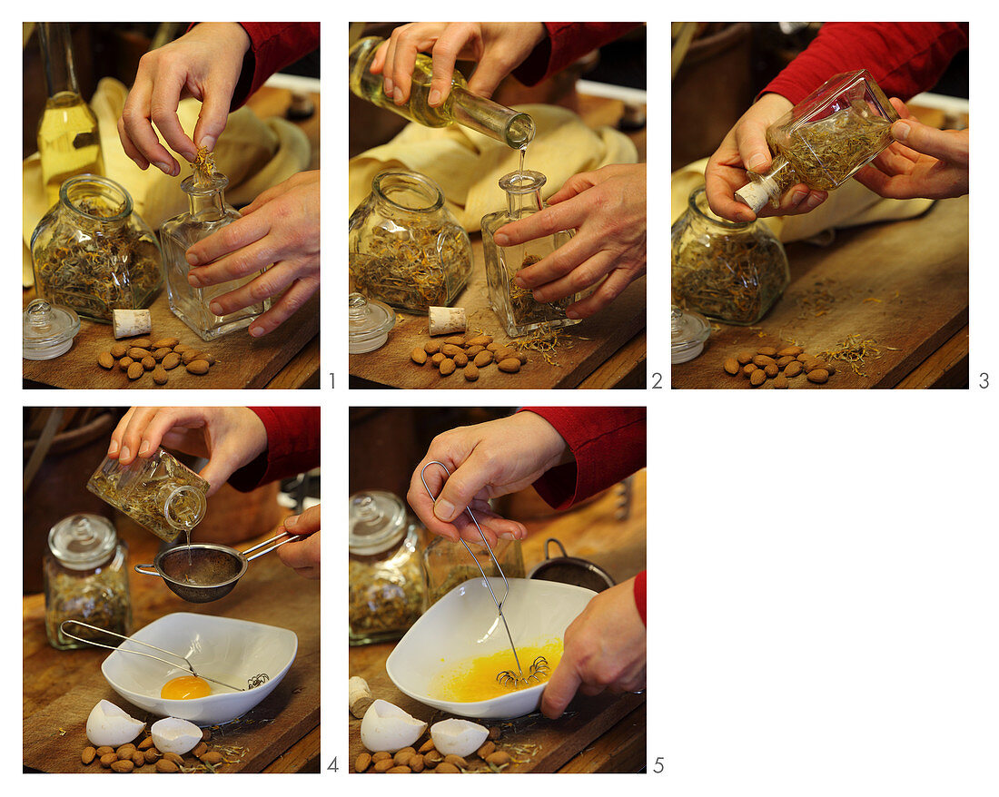 A hair mask for treating dandruff made from almond oil, arnica flowers and egg yolk being made