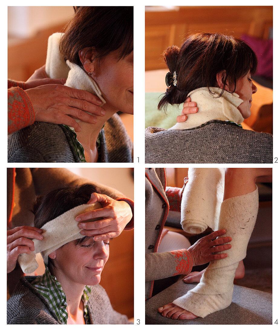 Healing sheep's wool wraps