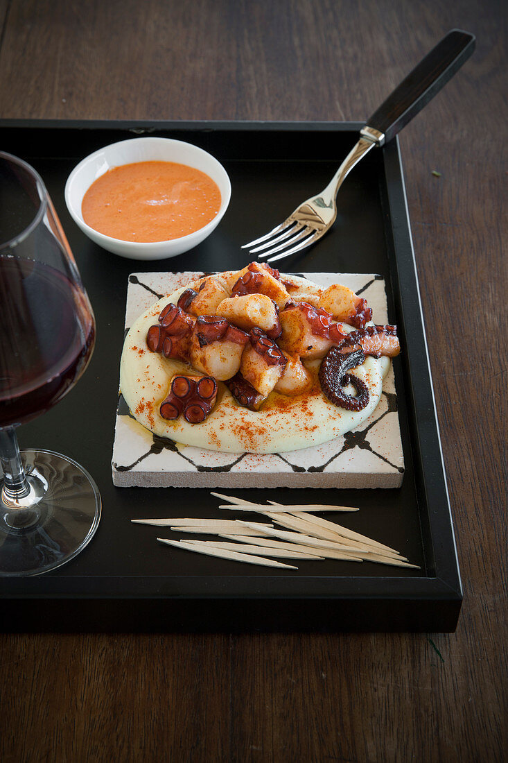 Galician style Octopus with Smashed Potatoes and Piquillo flavoured Aioli Sauce (Spain)