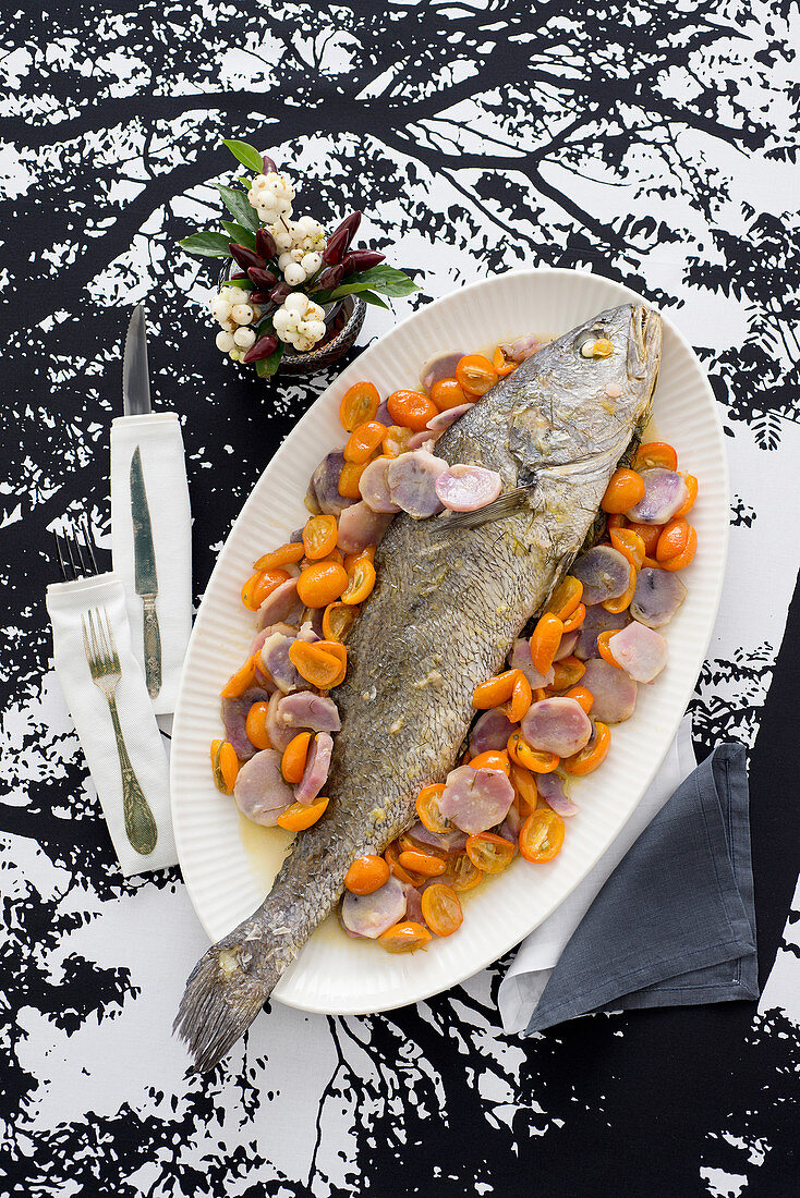 Sparkling Wine Croaker Fish with Wild Fennel and Kumquat