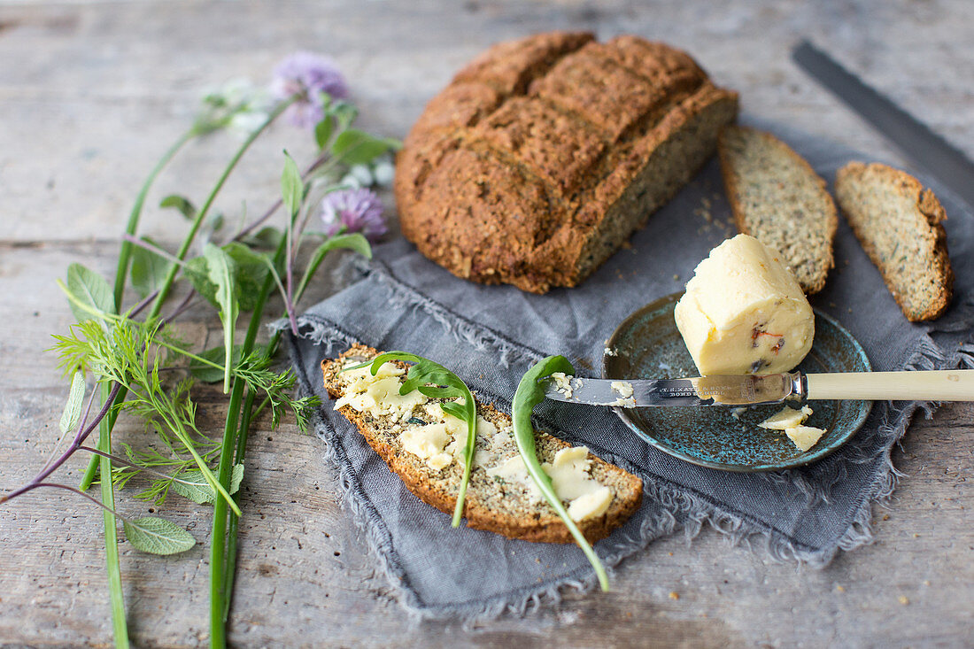 Handmade soda bread with freshly made butter infussed with wild garlic