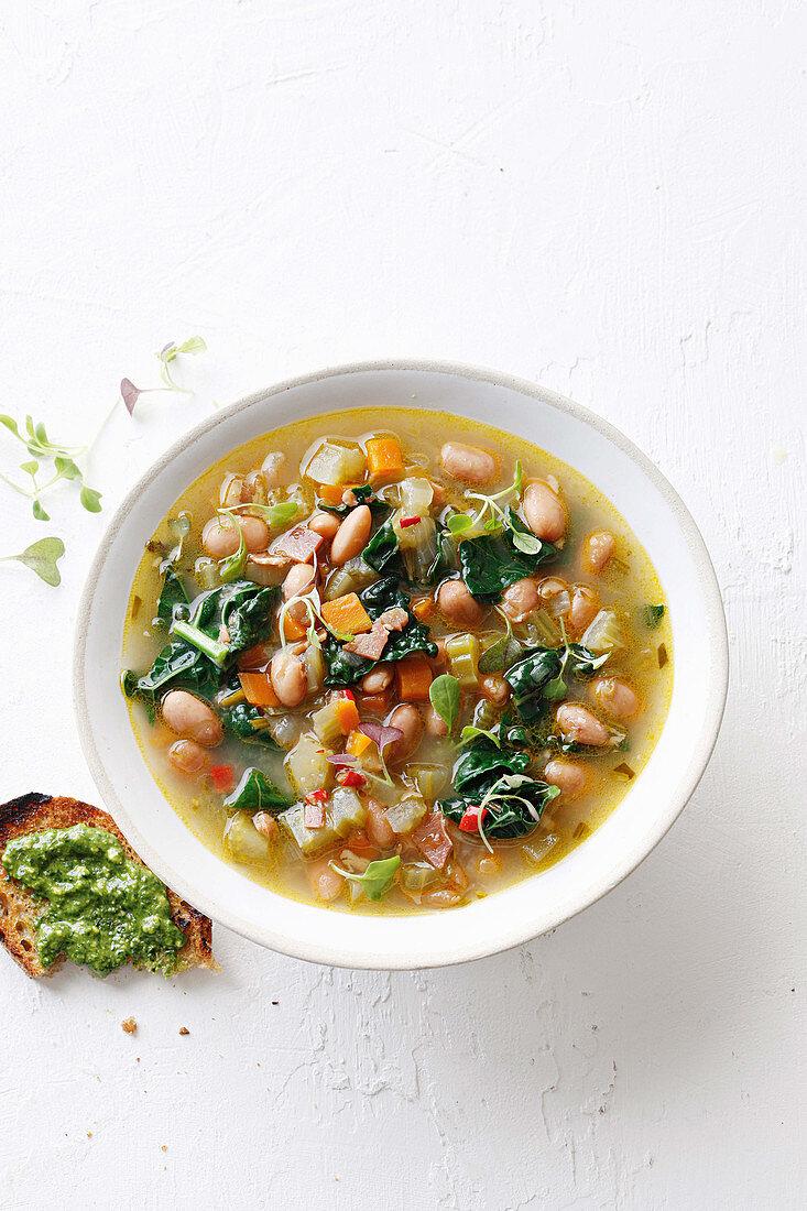 Pancetta and borlotti bean soup