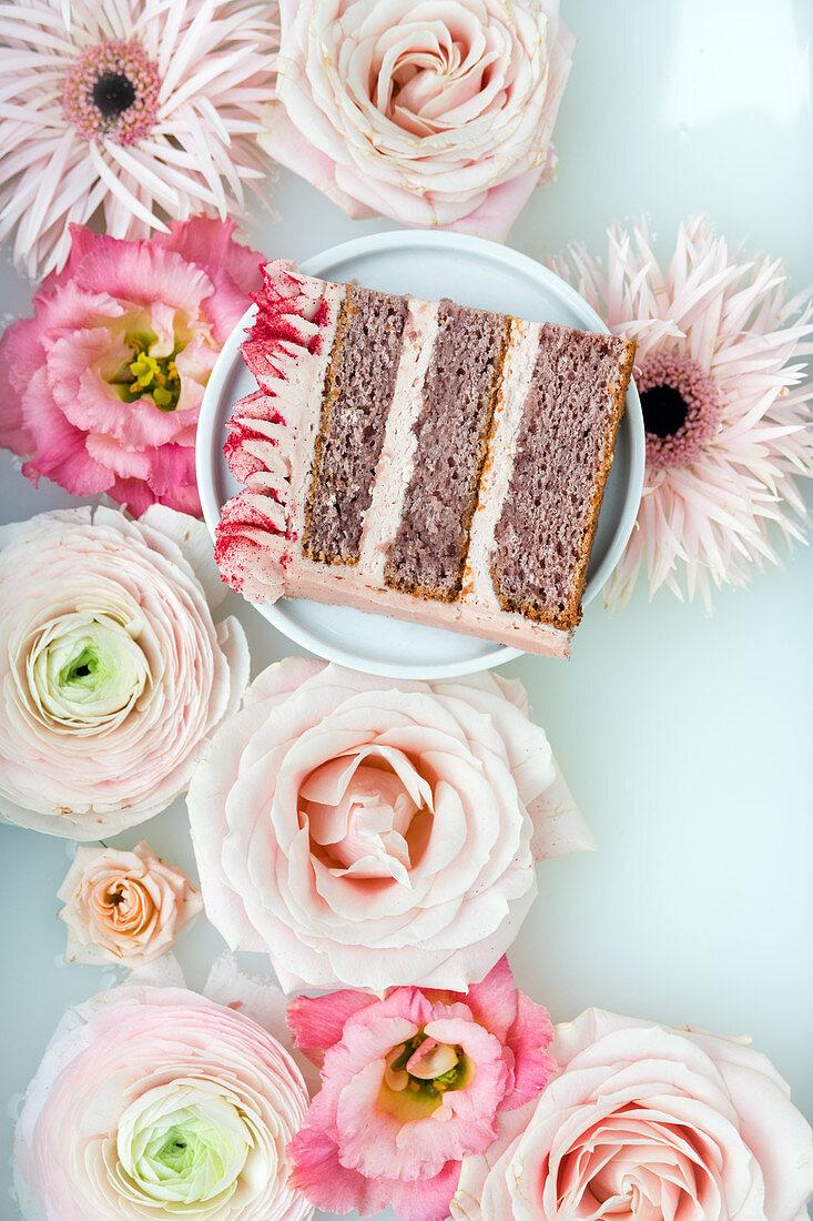 A piece of strawberry milkshake cake