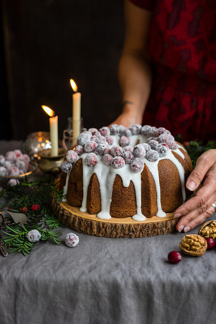 Christmas bundt cake with cranberries