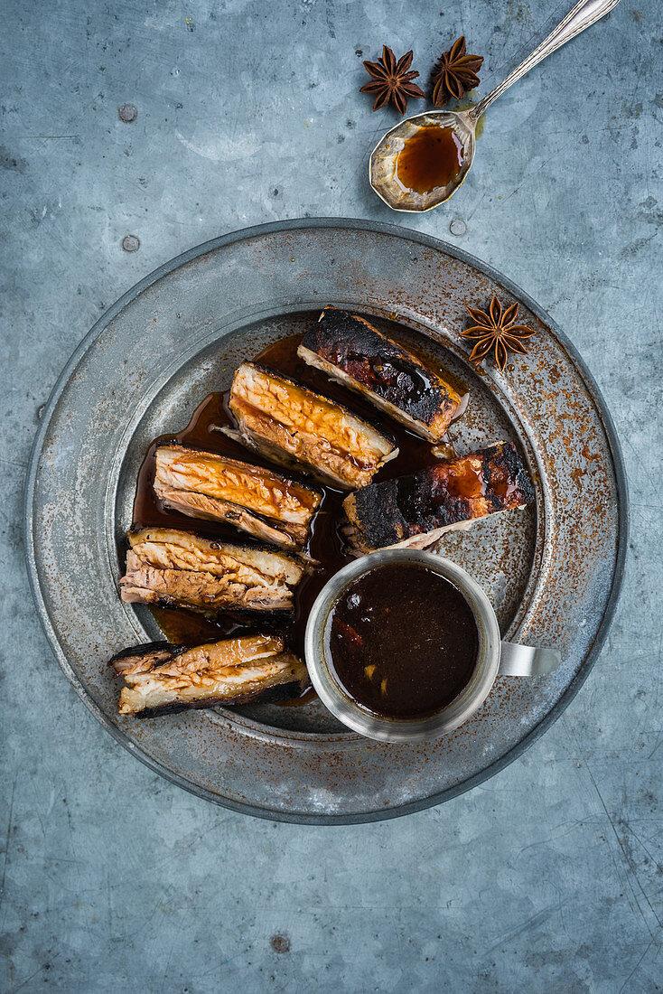 Crispy pork belly with Christmas spices