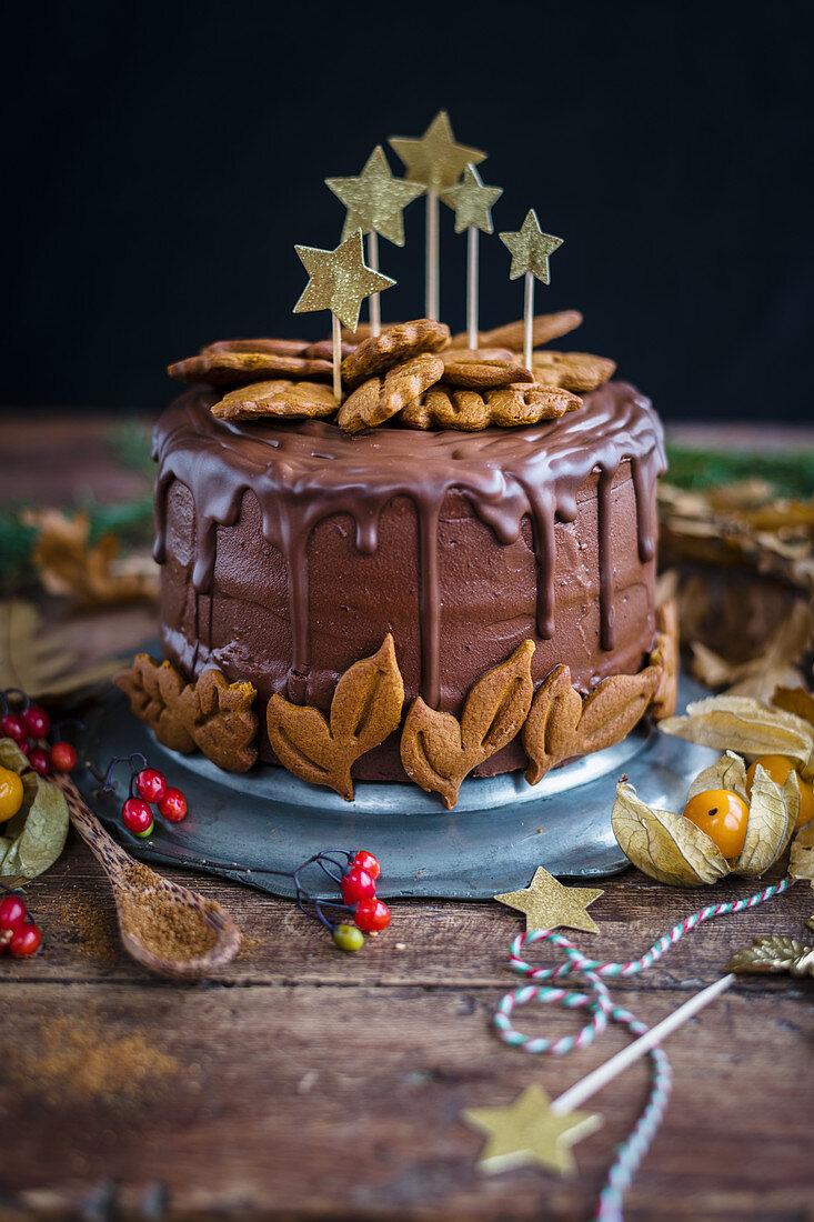 Vegan chocolate gingerbread layer cake