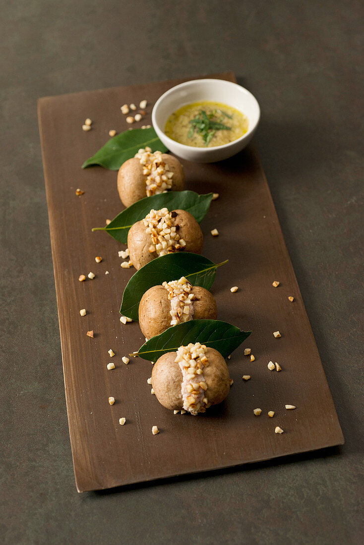 Mushroom Biscuits with Mint Sauce