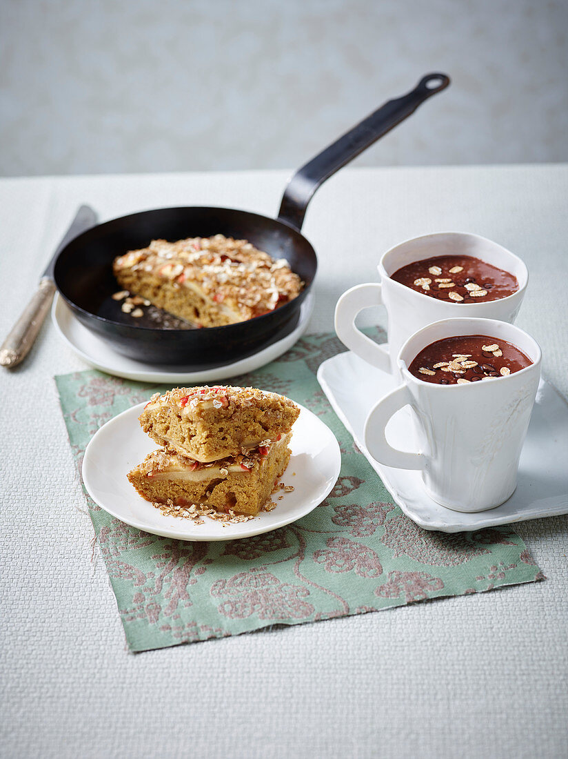 Apple and Oat Skillet Cake and Hot Chocolate Smoothie