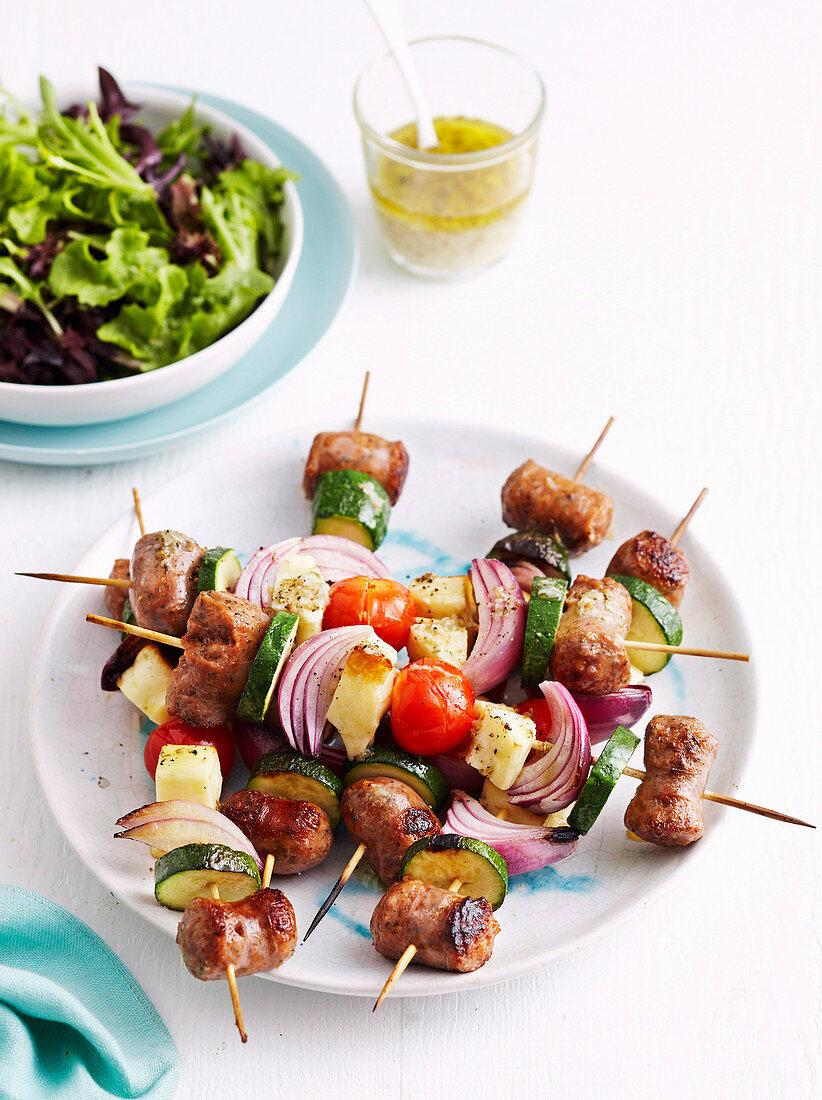 Greek Sausage Skewers