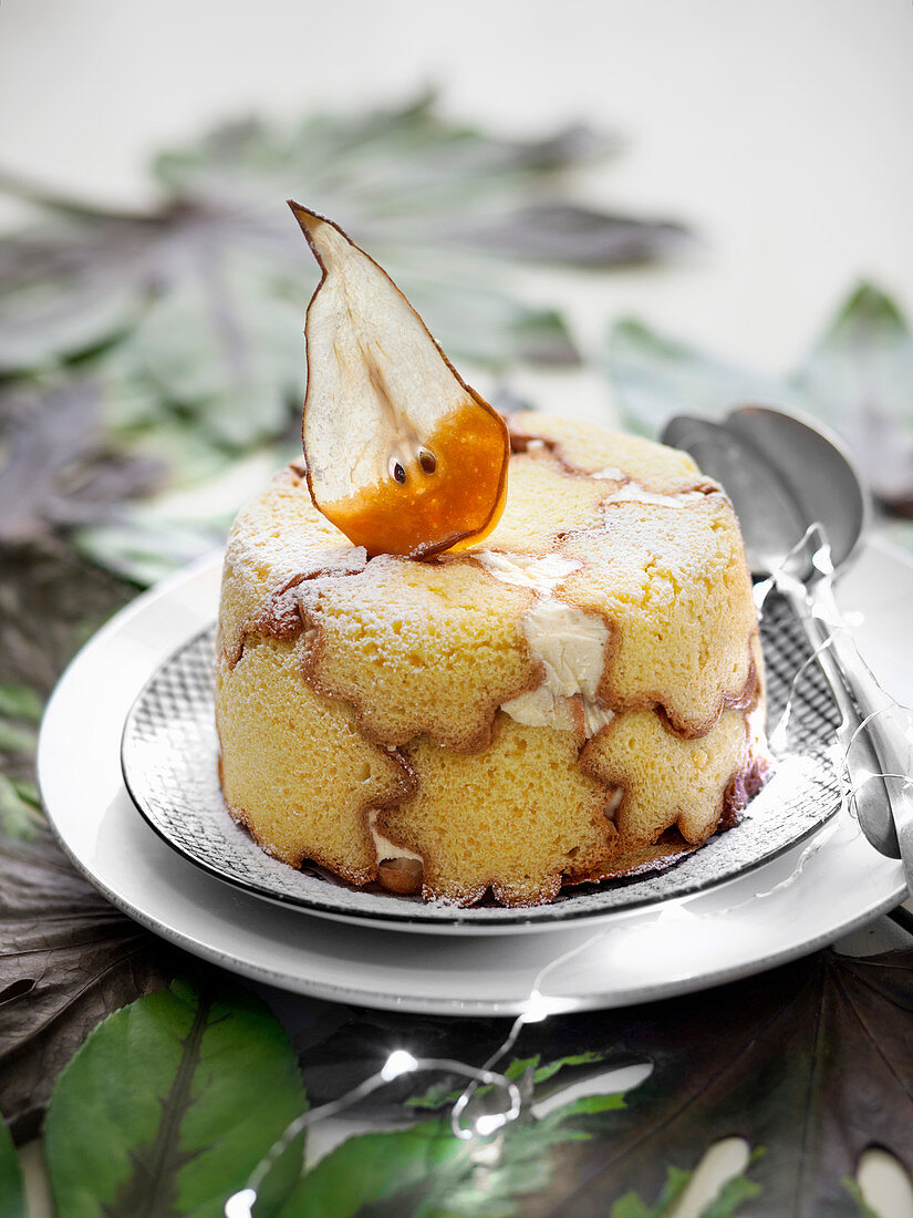 Pandoro Charlotte with Caramelized Pears