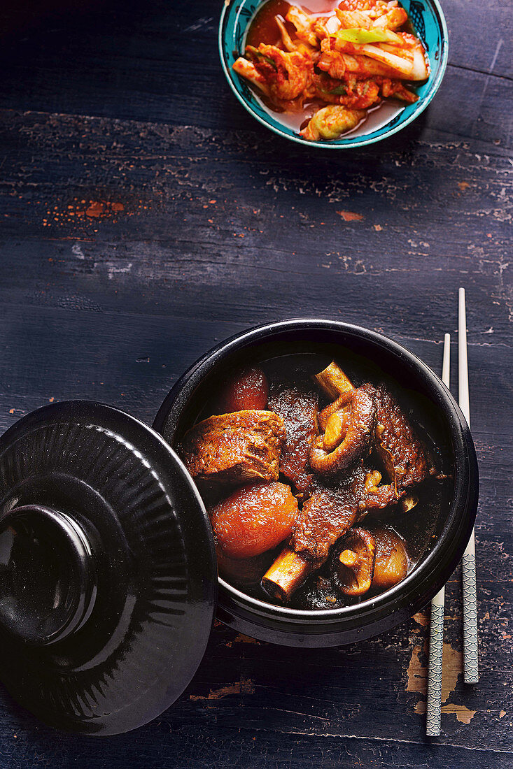 Galbi jjim - Korean soy-braised beef short ribs with pickled cabbage
