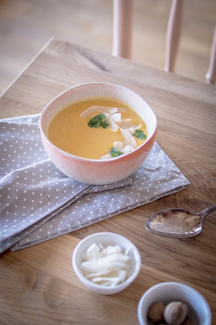 Sweet potato soup with nutmeg