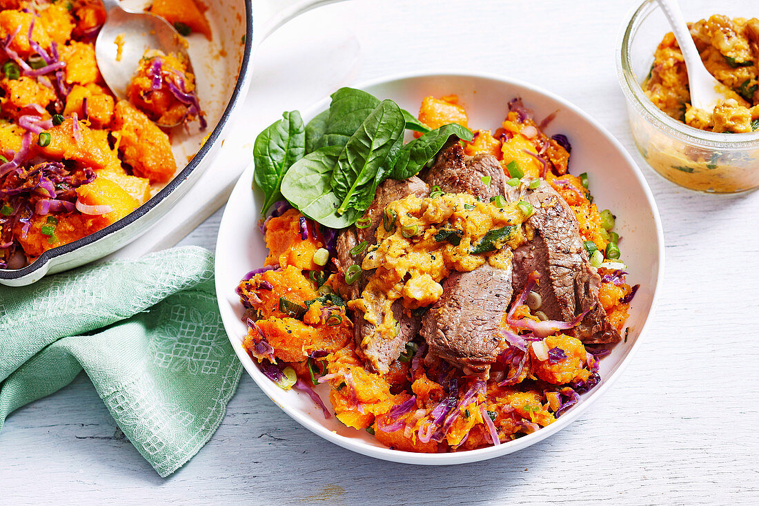 Pumpkin Bubble and Squeak with Steak