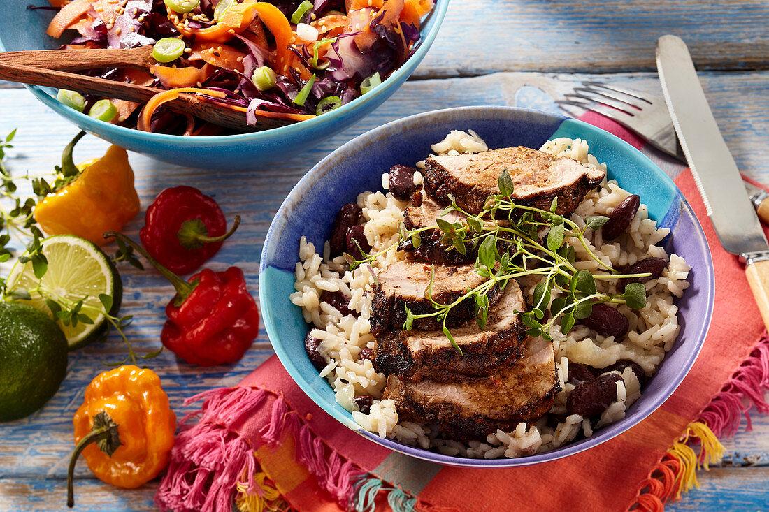 Jerk pork with Jamaican rice