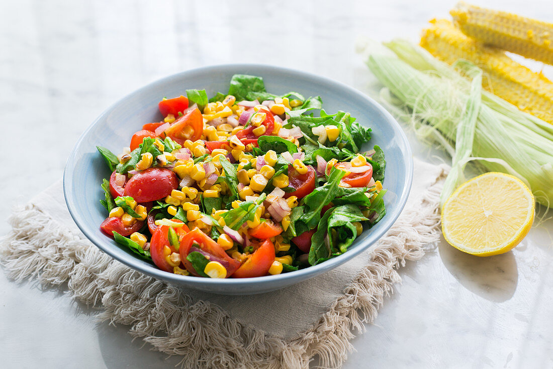 Mixed salad with corn
