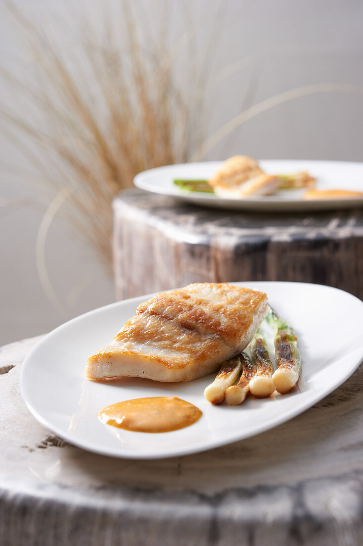 Turbot with spring onions and choron sauce