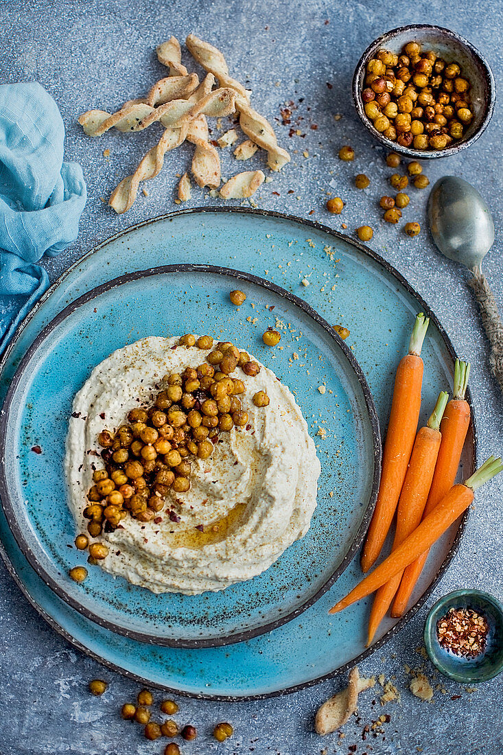 Hummus with fried chickpeas and carrots