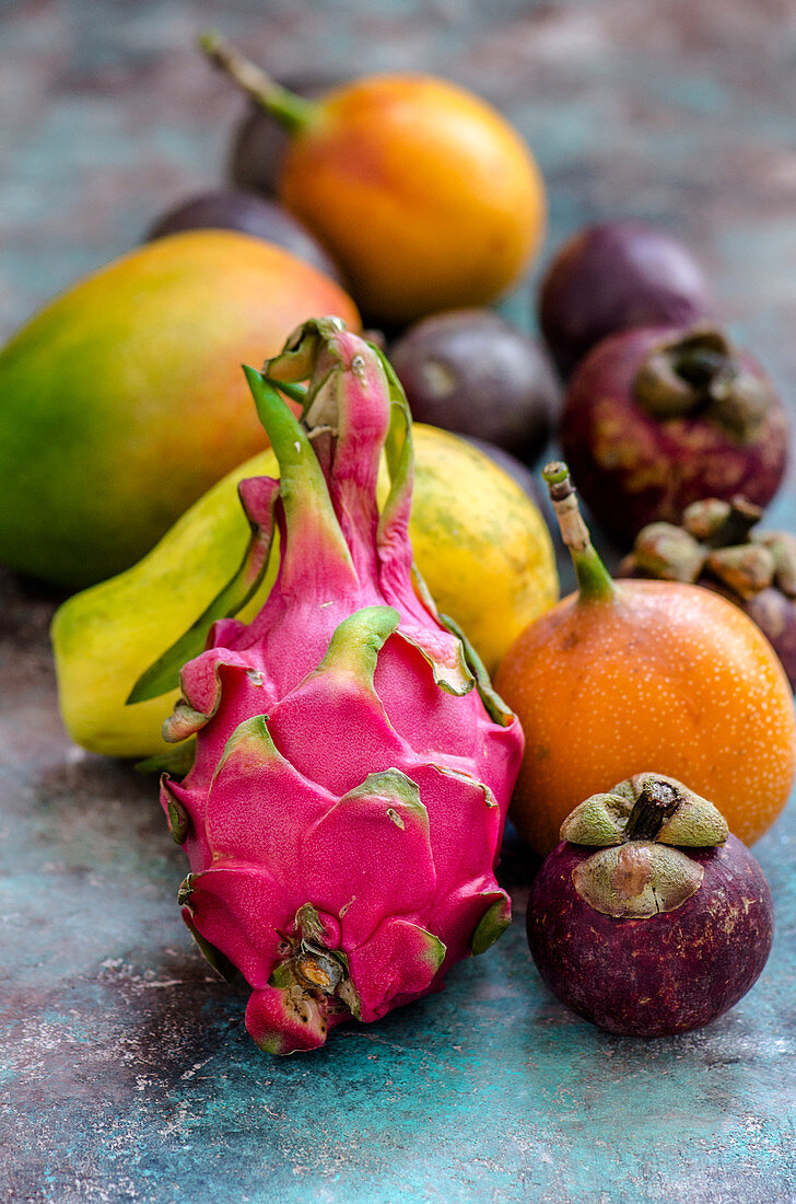Multicolored exotic fruits