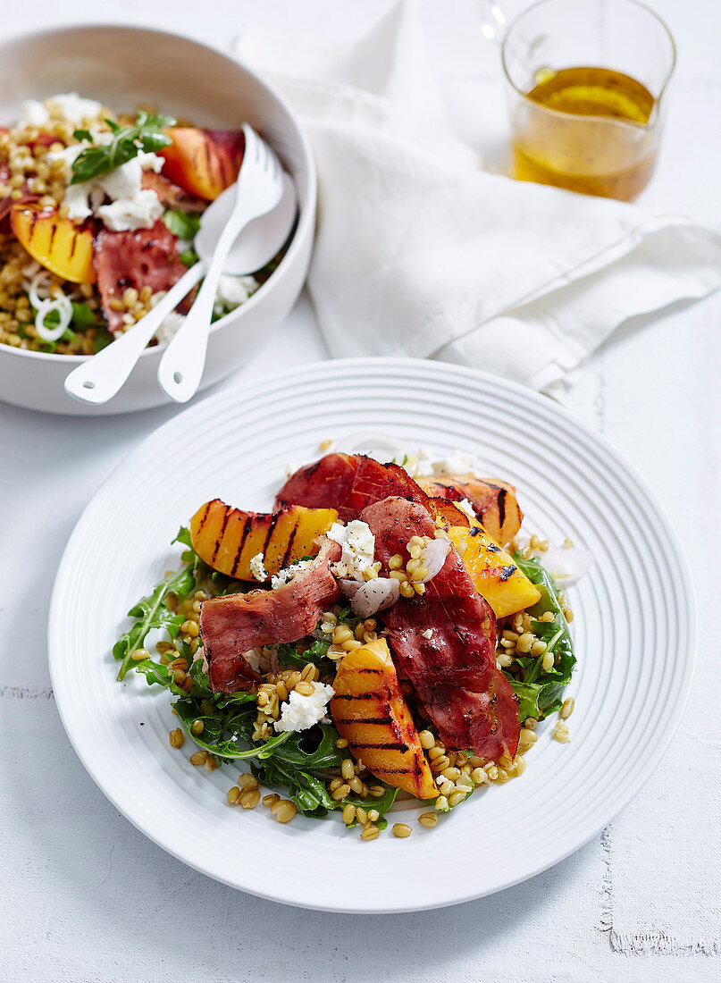 Grilled Peach and Farro Salad with Goat s Cheese