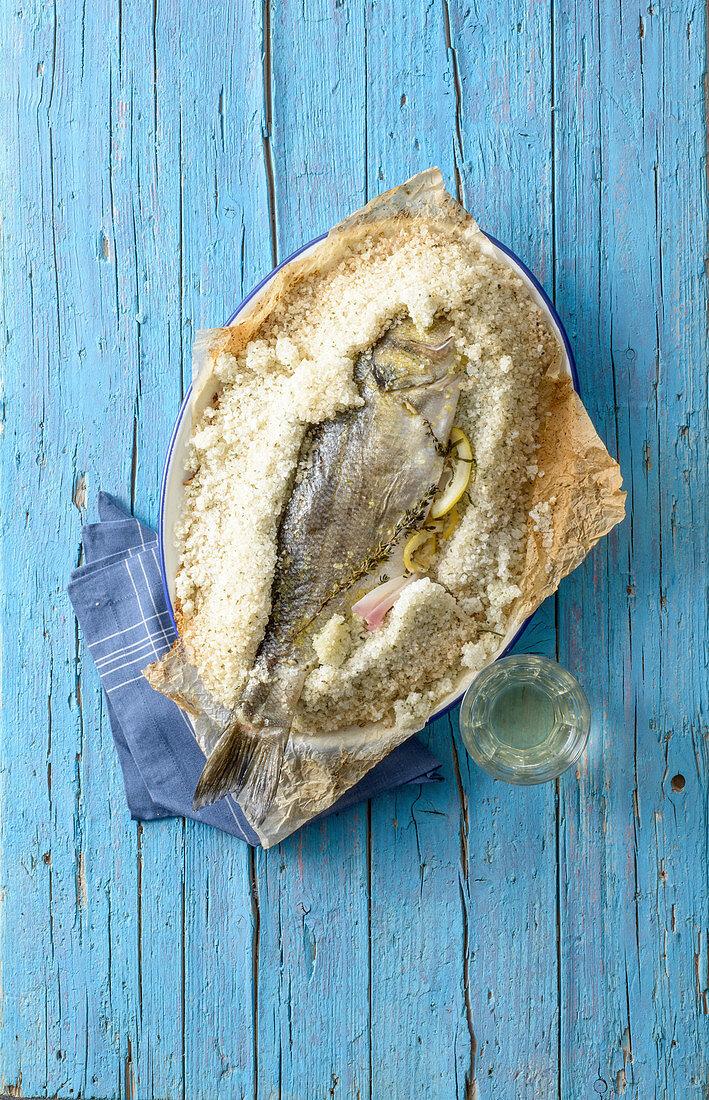 Sea bass in a salt crust