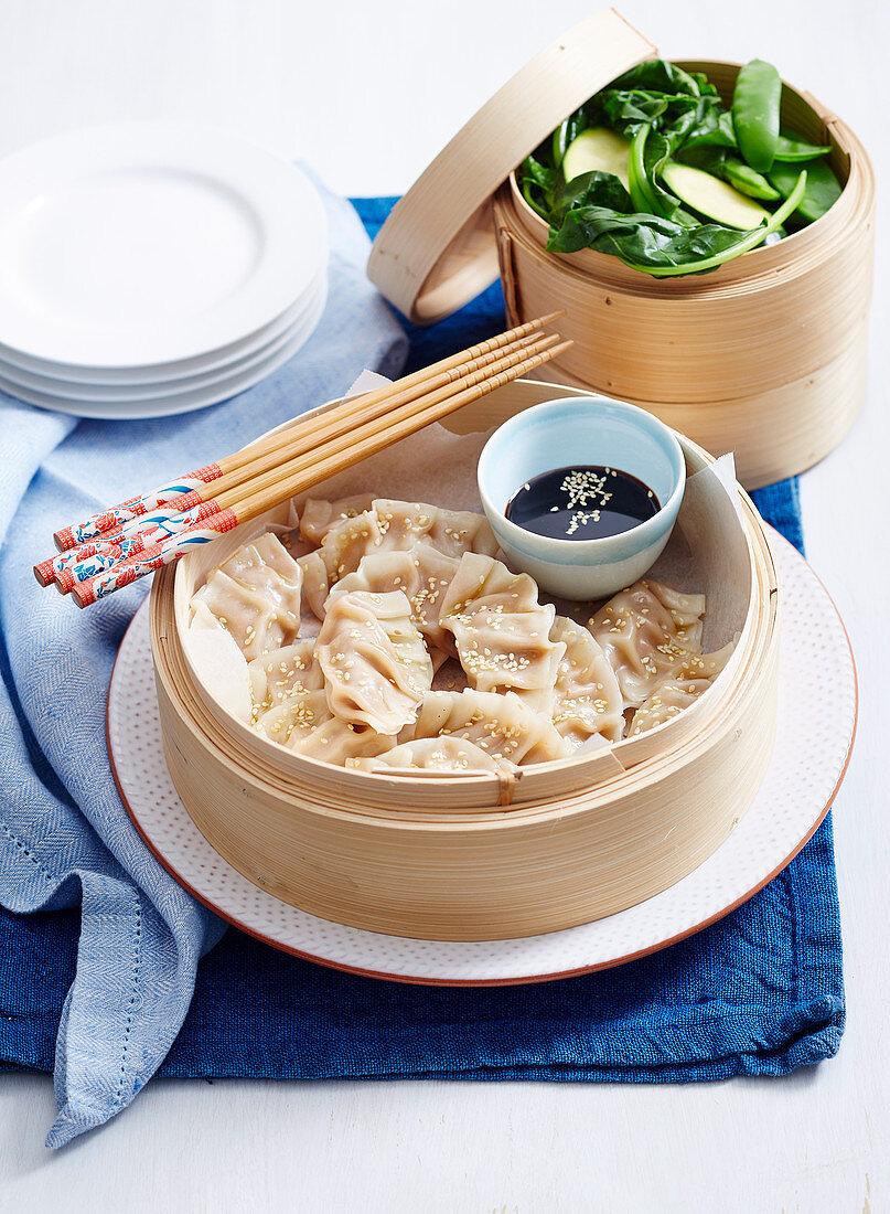 Pork and Chive Steamed Dumplings