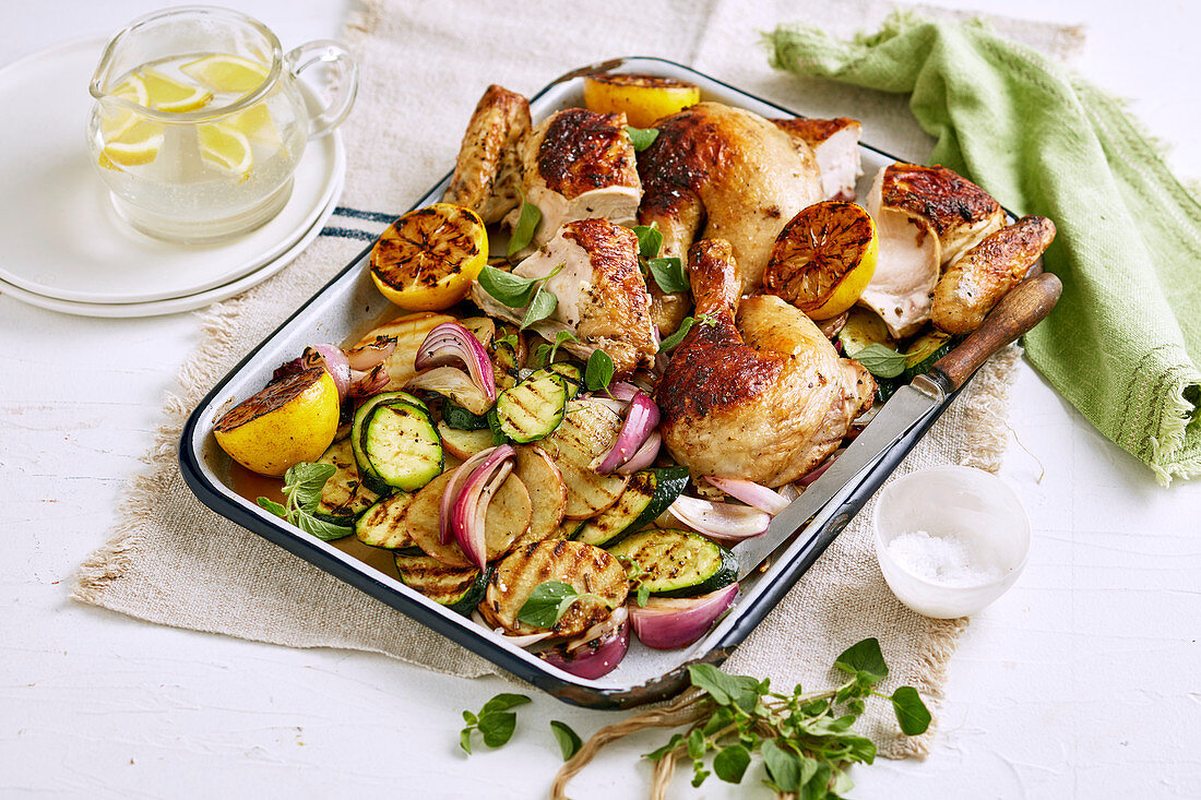 Greek butterflied chicken