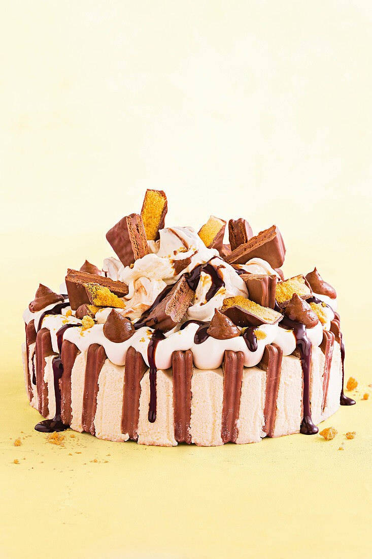 Cheesecake with chocolate biscuits and cream (tim tams)