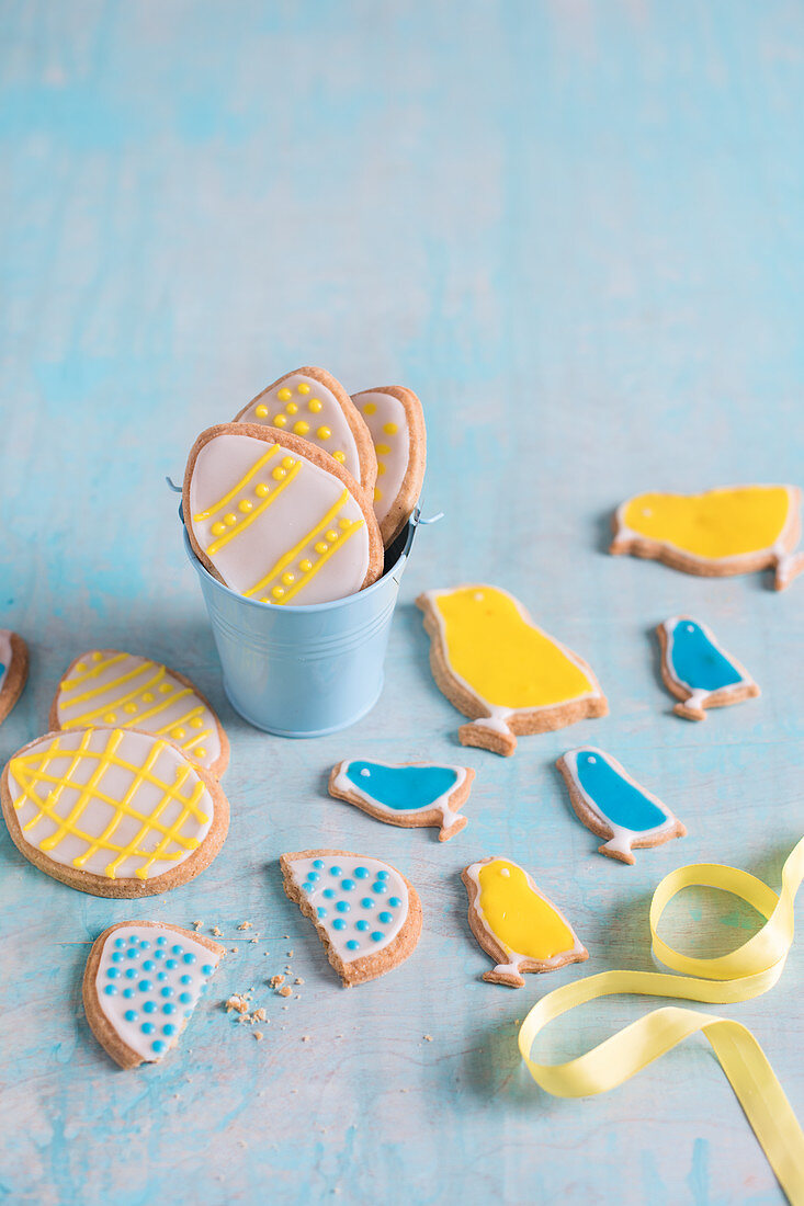 Easter biscuits on a blue board