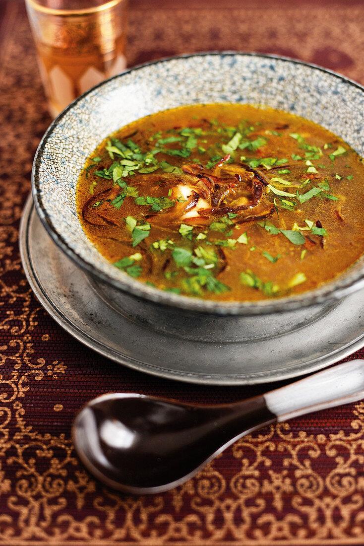 Lentil soup with caramelized turmeric onions (Singapore)